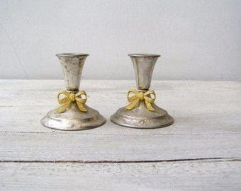 Vintage Silver Candlesticks, Gold Silver Candlesticks Short, Vintage Silver Tableware, Silver Plated Candlesticks Mid Century, Wedding Decor