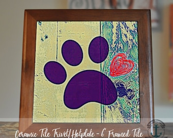 "Trivet Hot Plate:  Purple Paw Print  |  Pet Lover Dog and Cat Decor |  6"" Ceramic Trivet or Tile Kitchen Accessory"