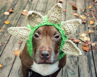Triceratops Dog Snood MADE TO ORDER Green and Taupe