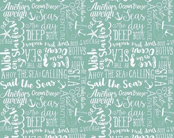 Sea Story Phrases on Teal from Riley Blake's By The Sea Collection by My Mind's Eye