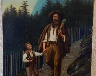 Sale Antique Oil Painting 19th C. Austria Portrait of Woodsman & Son O/C Art Signed European Genre Home Decor
