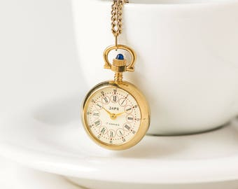 Pendant watch etsy rare watch necklace dawn round tiny necklace watch gold plated mechanical watch pendant rose aloadofball Choice Image
