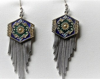 Antique Etruscan 14K Sterling Silver  Enamel Pierced TASSEL Fringe Dangle Earrings.