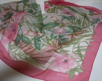 "ANN TAYLOR Silk Scarf Pink & Green Floral - 32 x 32"" Sheer"