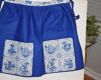 """Blue & White Delph Tile Apron - Cotton - 18"""" long - Vintage"""