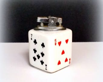 50s Table Lighter - Playing Card Motif - White Ceramic - Clubs, Hearts, Spades and Diamonds - Father's Day gift - JAPAN