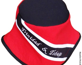 Trinidad and Tobago Flag Bucket Hat | Black-top Hat | Country Flag Hat | Caribbean | Red and Black Hat by Hamlet Pericles | HP82514b