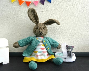 Lunna, crochet bunny and her little cat, crochet rabbit, crochet toy, Ready to ship