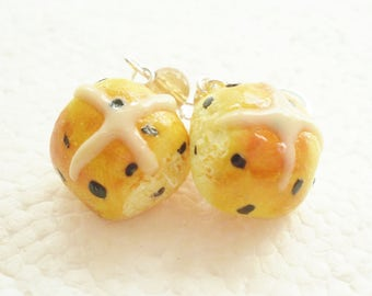 Hot Cross Bun Earrings. Polymer Clay.