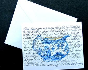 "Blue WillowStory Creamer Notecard Blank Inside  Watercolor 5.50"" X4.25"""