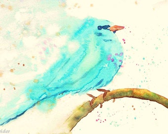 Watercolor Print, Blue Bird, Wall Decor