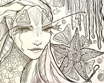 Sea sprite coloring page , downloadable coloring page , mermaid coloring page, mermaid art, coloring page