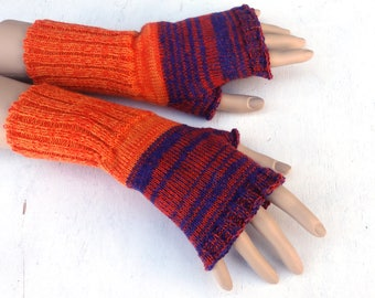 fingerless gloves, knit orange blue fingerless mittens, knitting wool arm warmers, colorful hand warmers, spring gloves, knitted gauntlets