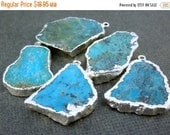 10% off Holiday SALE Raw Turquoise with a Sterling Silver Layered Edge Pendant Charm -Turquoise