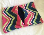 "13""x17"" Pocket Hammock for Pet Rats, Ferrets - All Fleece Navy Pink Chevrons with Navy Blue Interior - Won't Fray When Chewed!"