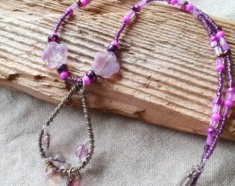 Boho Wire Wrap Teardrop Pendant Necklace, Vintage Purple Beads
