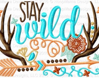 Stay Wild - Holiday applique Shirt - Girl's Thanksgiving shirt  - Fall shirt - holiday applique design