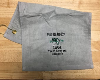 personalized towel, grandma's, grandpa, Nana's, camping, Fishing towel, kitchen decor, kitchen towel, embroidered towels, grandma towel,