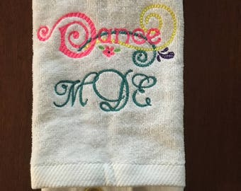 gymnastics, dance, personalized, gymnastics towel, custom towel,