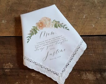 Wedding Handkerchief for MOTHER of the BRIDE Peach Peonies Mother of the Bride Handkerchief. Printed Wedding Handkerchief