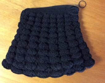 40's Black Crocheted Cord Clutch