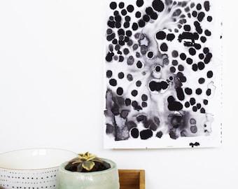 original watercolor painting, black dot painting, abstract watercolor