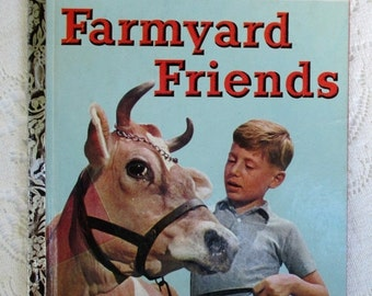 HOLIDAY SALE 20% Off Farmyard Friends, First Edition 1950s Mid-Century Collectible Little Golden Book, First Edition