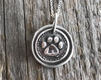 Personalized Paw Print Pendant - Fine Silver - Dog Parent Jewelry - Wax Seal Charm