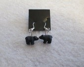 Hand Painted Ceramic BLACK BEAR Earrings, Silver, New, Handmade