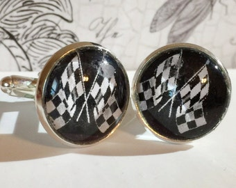 Hero Driver Cufflinks Checkered Flags