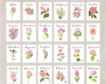 PINK Wedding Flower Table Numbers, Table Cards, Table Tents, Wedding Table Cards, Wedding Table Names