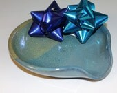 Spoon Rest - Blue and green - kitchen gadget - handmade pottery