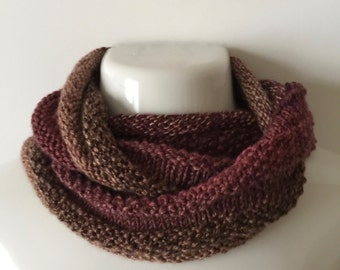 Infinity scarf, infinity cowl, brown and blush tweed scarf, earth tone tweed infinity scarf, reversible scarf, tweed ombre seamless cowl