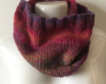 """Warm, cuddly infinity cowl in wool blend Amazing yarn in """"Aurora"""" colorway, bright color changes, 24"""" around, 10"""" in height"""