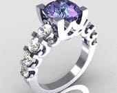 Modern Vintage 14K White Gold 2.0 Carat Alexandrite White Sapphire Designer Wedding Ring R142-14KWGAL