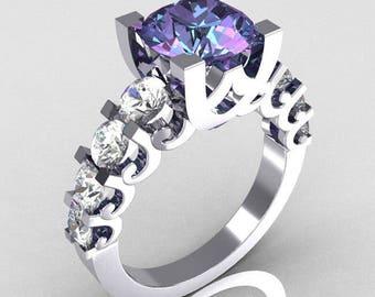 Modern Vintage 14K White Gold 2.0 Carat Alexandrite White Sapphire Designer Wedding Ring R142-14KWGAL