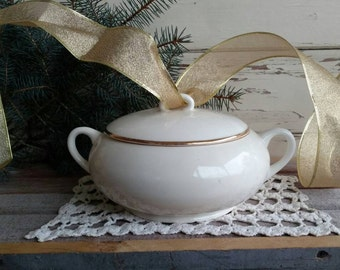 Antique Ivory + Gold Soup Tureen by W.S. George - Vintage Serving Bowl, Large Vintage Round Soup Bowl With Matching Lid, Serving Dishes