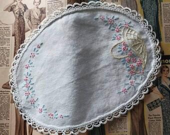 Antique Embellished Lace Doily - Vintage Floral Handmade Lace Linen, Hand Work, Sewing Art Work, Decorative Linen, Home Decor, Arts + Crafts