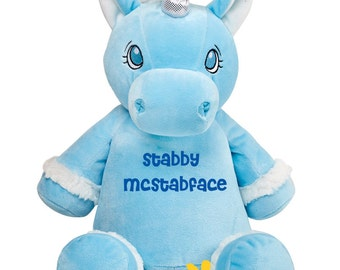 Unicorn Soft Toy, Stabby McStabface. Embroidered, Personalised, Gifts for adults.