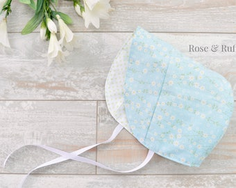 Reversible Cotton Modern Baby Bonnet, Baby Sun Hat, Sun Bonnet, Floral and Polka Dots, Available in Newborn to 18M, Rose and Ruffle