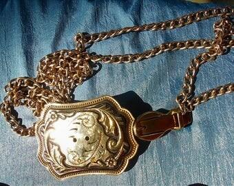 "Large Belt BUCKLE NECKLACE SALE Vintage Gold Tone Buckle, Needs Cabochon, 3 "" Belt Buckle as Pendant Necklace, or Add Your Own Belt Buckle"
