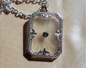 1920s Art Deco Vintage Camphor Glass w/ Rhinestone  Rhodium Filigree Setting, Silver Plated Fine Necklace. Bridal Jewelry.   Only 139.90