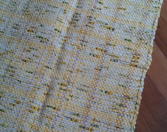 Pure yellow handwoven rag rug, mat, kitchen rug