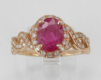 Ruby and Diamond Halo Engagement Ring Rose Gold Size 7 July Birthstone Gemstone