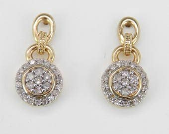 Petite Diamond Cluster Drop Earrings Yellow Gold Wedding Earrings Great Gift