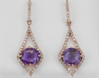 Diamond and Amethyst Dangle Drop Earrings 14K Rose Gold Purple February Gemstone