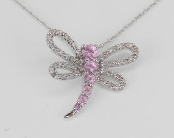 "Diamond and Pink Sapphire Dragonfly Pendant Necklace 14K White Gold 18"" Chain"