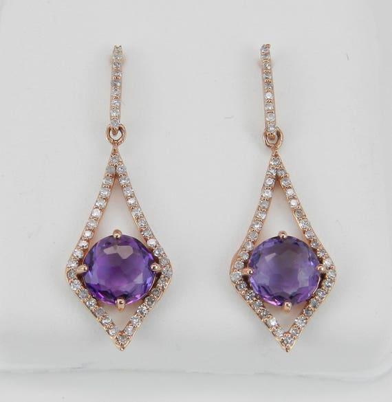 Diamond and Amethyst Dangle Drop Earrings 14K Rose Gold Purple February Gemstone