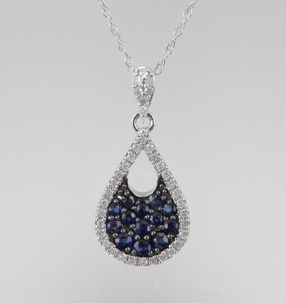 """Diamond and Sapphire Cluster Pendant 14K White Gold Necklace 18"""" Chain Blue September Birthstone"""
