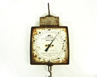 Vintage Hanson Hanging Scale, Farmhouse Scale, Rusty Hanging Scale